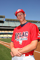 August 9 2008: Ethan Carter participates in the Aflac All American baseball game for incoming high school seniors at Dodger Stadium in Los Angeles,CA.  Photo by Larry Goren/Four Seam Images