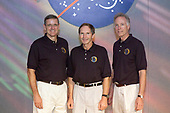 Houston, TX - August 4, 2005  -- The three Soyuz TMA-7 crew members pose for a group following their August 4, 2005 press conference in the Olin Teague Auditorium at the Johnson Space Center, Houston, Texas.  From left to right:  William S. McArthur, Jr., Expedition 12 commander and National Aeronautics and Space Administration (NASA) Space Station science officer; Valery I. Tokarev, Expedition 12 flight engineer and Soyuz commander; and Greg Olsen, Spaceflight Participant for Soyuz mission. <br />Credit: NASA via CNP