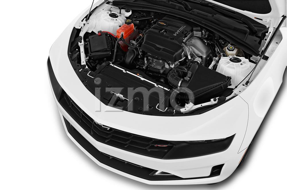 Car stock 2019 Chevrolet Camaro 1LT 2 Door Coupe engine high angle detail view