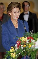 King Harald, and Queen Sonja of Norway, State Visit to Latvia, visit to Vidzeme High School in Valmiera with The Presidents wife