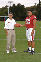 7 August 2006: Stanford Cardinal head coach Walt Harris and Sione Fua during Stanford Football's Team Photo Day at Stanford Football's Practice Field in Stanford, CA.