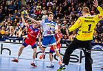 Max Haefner (TVB Stuttgart #3) ; Mario Ruminsky (HBW Balingen-Weilstetten #1) ; Tim Nothdurft (HBW Balingen-Weilstetten #11) beim Spiel in der Handball Bundesliga, TVB 1898 Stuttgart - HBW Balingen-Weilstetten.<br /> <br /> Foto © PIX-Sportfotos *** Foto ist honorarpflichtig! *** Auf Anfrage in hoeherer Qualitaet/Aufloesung. Belegexemplar erbeten. Veroeffentlichung ausschliesslich fuer journalistisch-publizistische Zwecke. For editorial use only.