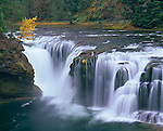 Gifford Pinchot National Forest, WA<br /> Lower Lewis River falls in autumn