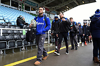 Kahn Fotuali'i and the rest of the Bath Rugby team arrive at the stadium. Aviva Premiership match, between Harlequins and Bath Rugby on March 2, 2018 at the Twickenham Stoop in London, England. Photo by: Patrick Khachfe / Onside Images