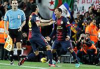 ATENCAO EDITOR IMAGEM EMBARGADA PARA VEICULOS INTERNACIONAIS - BARCELONA, ESPANHA, 16 DEZEMBRO 2012 - Adriano Correia (D) jogador do Barcelona comemora seu gol durante partida contra o Atletico de Madrid pela 16 Rodada do Campeonato Espanhol no Camp Nou em Barcelona capital da Catalunha na Espanha. (FOTO: ALFAQUI / BRAZIL PHOTO PRESS).