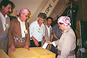 Iraq 1993.11th congress of KDP party in Hawler: Left Dr. Mohammed Goma and Masoud Barzani .Irak 1993.11eme congres du PDK a Hawler: Masoud Barzani votes, 2nd left, Mohammed Goma
