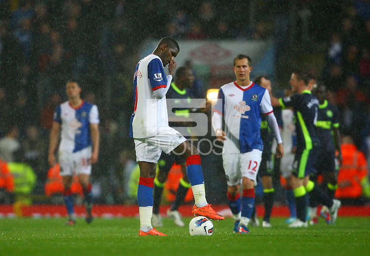 Anthony Modeste of Blackburn Rovers looks dejected.