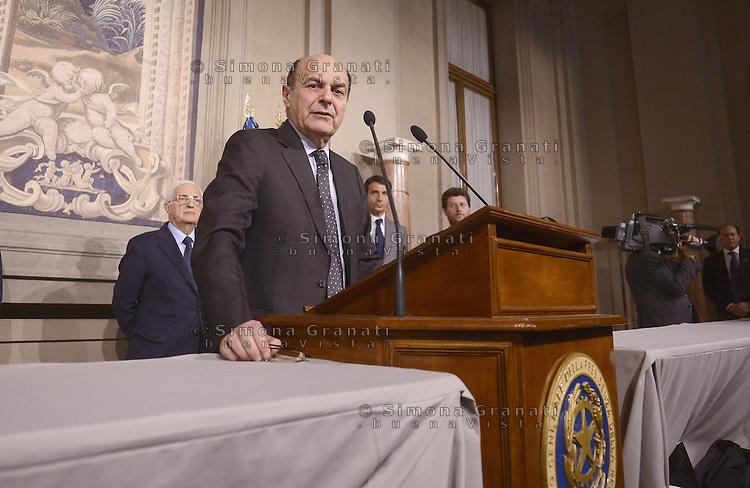 Roma, 22 Marzo 2013.Quirinale.  Pier Luigi Bersani incaricato per la formazione del nuovo Governo..Stampa e giornalisti