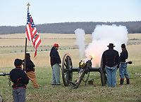 NWA Democrat-Gazette/FLIP PUTTHOFF<br /> BATTLE REMEMBERED<br /> Actors from Civil War history groups fire a cannon on Saturday March 17 2018 at Pea Ridge National Military Park east of Pea Ridge. Observances at the Civil War battlefield commemorated the 136th anniversary of The Battle of Pea Ridge that raged March 7-8, 1862. The event included artillery firing, Civil War campsites, speakers and a concert by the Northwest Arkansas Heritage Brsss Ensemble.