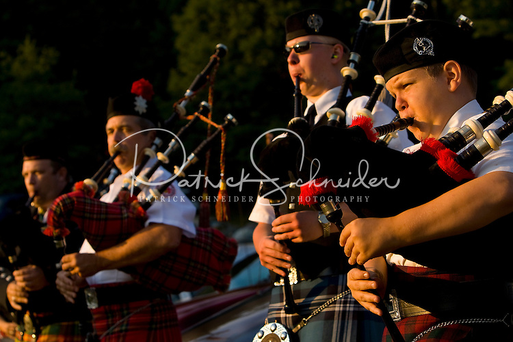 A bagpipe band performs during the 52nd Annual Grandfather Mountain Highland Games in Linville, NC.