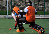 Stepps Hockey Club's David Hitchon gets the ball past the Waverley Inveresk Trinity HC keeper to secure Division One hockey for the Lanarkshire side, in their 3-2 victory at the Bangholm ground in Edinburgh - Picture by Donald MacLeod 31.10.09