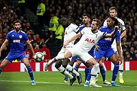 Harry Kane of Tottenham Hotspur goes close in the first half during Tottenham Hotspur vs Olympiacos FC, UEFA Champions League Football at Tottenham Hotspur Stadium on 26th November 2019