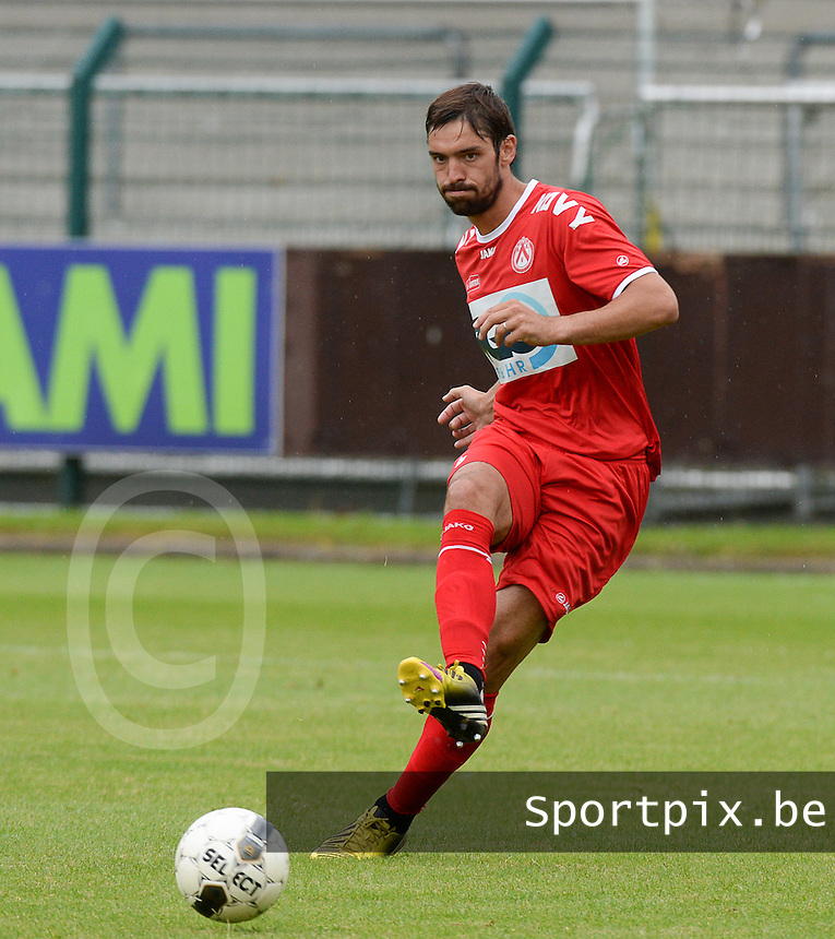 20140627 - HARELBEKE , BELGIUM:  Kortrijk's Benoit Poulain pictured during a friendly match between SW Harelbeke and Belgian first division soccer team KV Kortrijk, the third match for Kortrijk of the preparations for the 2014-2015 season, Friday 27 June 2014 in Bissegem. PHOTO DAVID CATRY