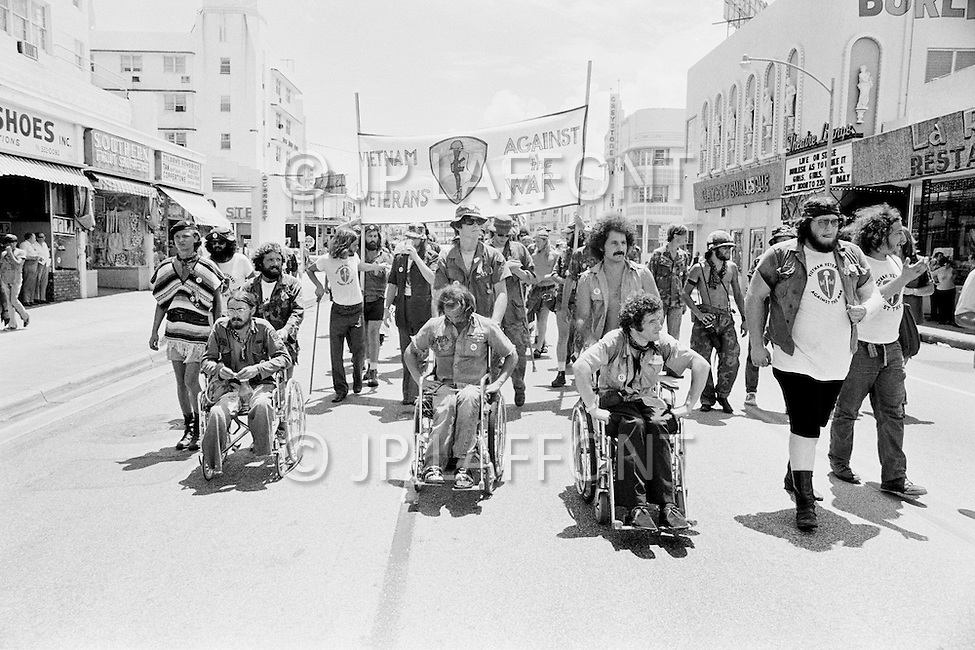 August 21st 1972, Miami, Florida, USA. Outside of the 1972 30th Republican Convention, during President Richard Nixon's reelection campaign, several thousand Women's Lib protesters demonstrate. The protest led by Jane Fonda, having just returned from her North Vietnam tour, was joined by the Vietnam Veterans to speak out against the war. No clashes with police were reported.