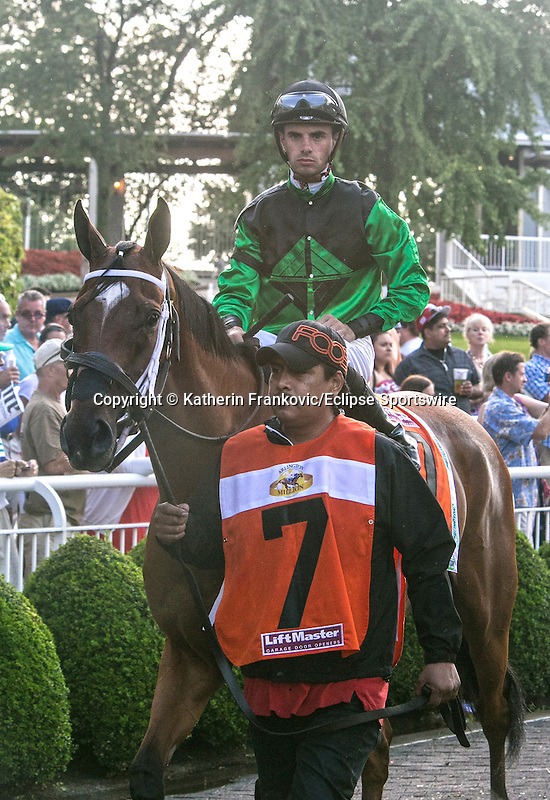 August 15, 2015. The Pizza Man and jockey Florent Geroux in the paddock before the G1 Arlington Million. Katherin Frankovic/ESW/CSM