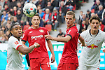 05.10.2019, BayArena, Leverkusen, GER, 1. FBL, Bayer 04 Leverkusen vs. RB Leipzig,<br />  <br /> DFL regulations prohibit any use of photographs as image sequences and/or quasi-video<br /> <br /> im Bild / picture shows: <br /> Kopfball durch Christopher Nkunku (RB Leipzig #18), <br /> <br /> Foto © nordphoto / Meuter