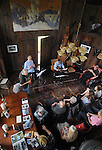 Overview of the scene as Gil Gutierrez (Guitar) and Bob Stern (violin) perform at Opus 40, in Saugerties, NY, on May 9, 2015. Photo by Jim Peppler. Copyright Jim Peppler 2015.