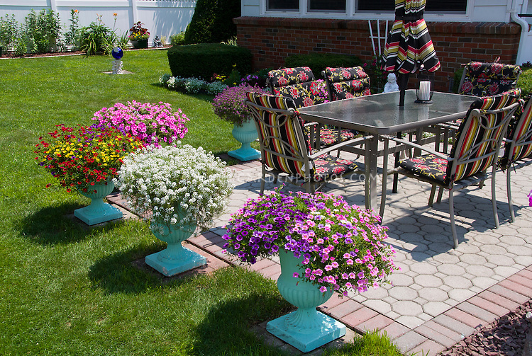 Pretty Container Garden With Pots Around Patio, Annual Flowers, Lawn Gras,  Garden Furniture