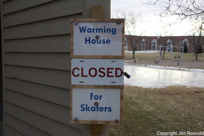 7 Jan 12: The warming house is closed to skaters at Quarry Park in Eagan, MN.