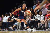 Washington, DC - Aug 8, 2019: Washington Mystics guard Natasha Cloud (9) brings the ball up court during 2nd half action of game between the Indiana Fever and the Washington Mystics. The Mystics defeat the Fever 91-78 at the Entertainment & Sports Arena in Washington, DC. (Photo by Phil Peters/Media Images International)