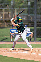 Oakland Athletics third baseman Jonah Bride (21) at bat during an Instructional League game against the Los Angeles Dodgers at Camelback Ranch on October 4, 2018 in Glendale, Arizona. (Zachary Lucy/Four Seam Images)