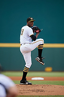 Bradenton Marauders starting pitcher Taylor Hearn (12) delivers a pitch during the second game of a doubleheader against the Tampa Yankees on June 14, 2017 at LECOM Park in Bradenton, Florida.  Tampa defeated Bradenton 5-1.  (Mike Janes/Four Seam Images)
