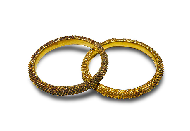 Bronze Age Hattian gold bracelet  from a possible Bronze Age Royal grave (2500 BC to 2250 BC) - Alacahoyuk - Museum of Anatolian Civilisations, Ankara, Turkey. Against a white background