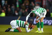 1st December 2019; Global Energy Stadium, Dingwall, Highland, Scotland; Scottish Premiership Football, Ross County versus Celtic; Tom Rogic of Celtic checks on Christopher Jullien of Celtic after his head knock - Editorial Use