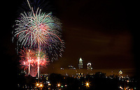 Fourth of July fireworks explode in uptown Charlotte, NC.