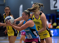 Claire Kersten pressures Gina Crampton during the ANZ Premiership netball final between the Central Pulse and Southern Steel at Arena Manawatu in Palmerston North, New Zealand on Sunday, 12 August 2018. Photo: Dave Lintott / lintottphoto.co.nz