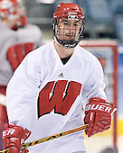 AJ Degenhardt - The University of Wisconsin Badgers skated Saturday morning, April 8, 2006, at the Bradley Center in Milwaukee, Wisconsin, before defeating Boston College that evening for the Title.