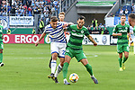 11.08.2019, Schauinsland-Reisen-Arena, Duisburg, GER, DFB-Pokal, MSV Duisburg vs SpVgg Greuther Fuerth, DFL regulations prohibit any use of photographs as image sequences and/or quasi-video<br /> <br /> im Bild v. li. im Zweikampf Joshua Bitter (#23, MSV Duisburg) Mergim Mavraj (#5, SpVgg Greuther Fürth / Fuerth) <br /> <br /> Foto © nordphoto/Mauelshagen