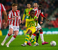 4th November 2019; Bet365 Stadium, Stoke, Staffordshire, England; English Championship Football, Stoke City versus West Bromwich Albion; Romaine Sawyers of West Bromwich Albion miss kicks the ball - Strictly Editorial Use Only. No use with unauthorized audio, video, data, fixture lists, club/league logos or 'live' services. Online in-match use limited to 120 images, no video emulation. No use in betting, games or single club/league/player publications