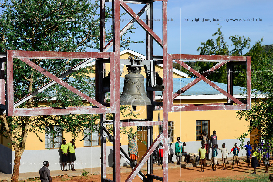 UGANDA, Karamoja, Karamojong pastoral tribe, Loyoro Parish, church an bell tower