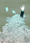 Businessman drowning in a heap of documents