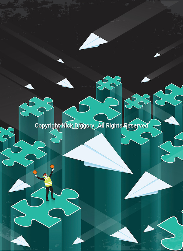 Air traffic controller directing paper airplanes between disconnected jigsaw puzzle piece columns