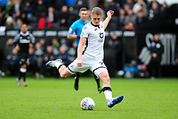 George Byers of Swansea City has a shot during the Sky Bet Championship match between Swansea City and Derby County at the Liberty Stadium in Swansea, Wales, UK. Saturday 08 February 2020