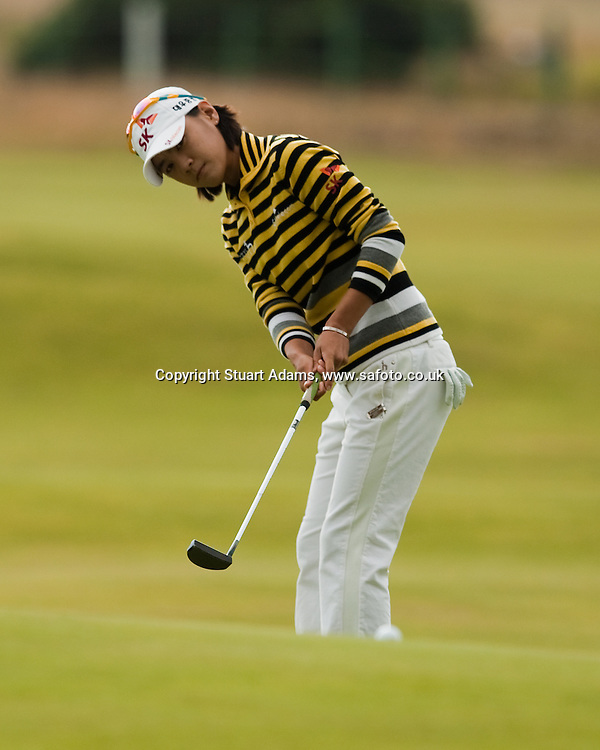 Na Yeon Choi putts over a ridge on the 6th green during the first round play of the  Ricoh Woman's British Open to be played over the Championship Links from 28th to 31st July 2011; Picture Stuart Adams, SAFOTO. www.safoto.co.uk; 28th July 2011