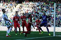 GRONINGEN - Voetbal, FC Groningen - FC Twente,  Eredivisie , Noordlease stadion, seizoen 2017-2018, 24-09-2017,   FC Groningen speler Lars Veldwijk  komt te laat de bal gaat naast