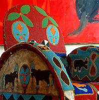 Detail of an intricately beaded African chair
