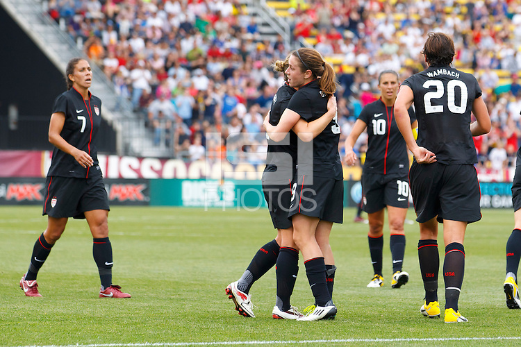 14 MAY 2011: USA Women's National Team forward Amy Rodriguez (8), USA Women's National Team forward Abby Wambach (20) and USA Women's National Team midfielder Megan Rapinoe (15) celebrate Amy Rodriguez's goal in the first half during the International Friendly soccer match between Japan WNT vs USA WNT at Crew Stadium in Columbus, Ohio.