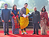 """KING AND QUEEN OF BHUTAN VISIT INDIA.The King of Bhutan, His Majesty Jigme Khesar Namgyel Wangchuck and Queen Jetsun Pema Wangchuck being welcomed by Indian President Shri Pranab Mukherjee, at Rashtrapati Bhavan, New Delhi _25/01/2013. .King Wangchuk and Queen Jetsun Pema Wangchuck were the Chief Guests at the Indian Republic Day celebrations..Mandatory Photo Credit: ©Meena/Newspix International..**ALL FEES PAYABLE TO: """"NEWSPIX INTERNATIONAL""""**..PHOTO CREDIT MANDATORY!!: NEWSPIX INTERNATIONAL(Failure to credit will incur a surcharge of 100% of reproduction fees)..IMMEDIATE CONFIRMATION OF USAGE REQUIRED:.Newspix International, 31 Chinnery Hill, Bishop's Stortford, ENGLAND CM23 3PS.Tel:+441279 324672  ; Fax: +441279656877.Mobile:  0777568 1153.e-mail: info@newspixinternational.co.uk"""