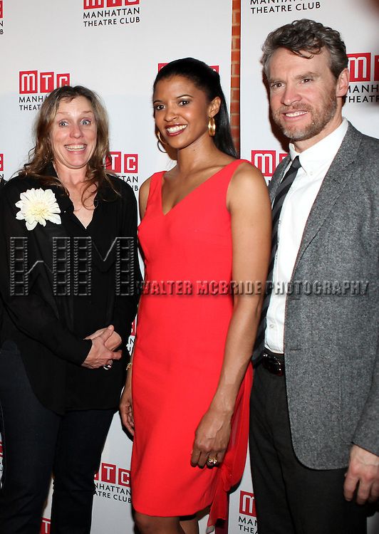 Frances McDormand, Renee Elise Goldsberry and Tate Donovan.attending the Opening Night Performance After Party for the Manhattan Theatre Club's 'Good People'  in New York City.