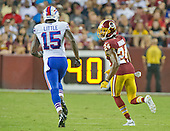 Buffalo Bills wide receiver Greg Salas (11) is defended by Washington Redskins defensive back Josh Norman (24) in first quarter action of their pre-season game at FedEx Field in Landover, Maryland on Friday, August 26, 2016.<br /> Credit: Ron Sachs / CNP