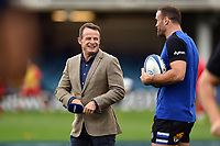 Austin Healey has a word with Jamie Roberts of Bath Rugby prior to the match. Heineken Champions Cup match, between Bath Rugby and Stade Toulousain on October 13, 2018 at the Recreation Ground in Bath, England. Photo by: Patrick Khachfe / Onside Images