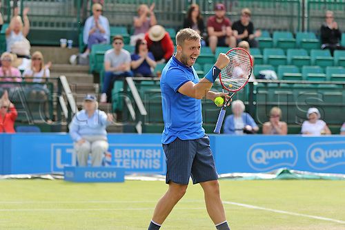 21.06.2016. Nottingham Tennis Centre, Nottingham, England. Aegon Open Mens ATP Tennis. Celebration form Daniel Evans of Great Britain after his victory over Ricardas Berankis of Lithuania 2-6 7-6 6-2