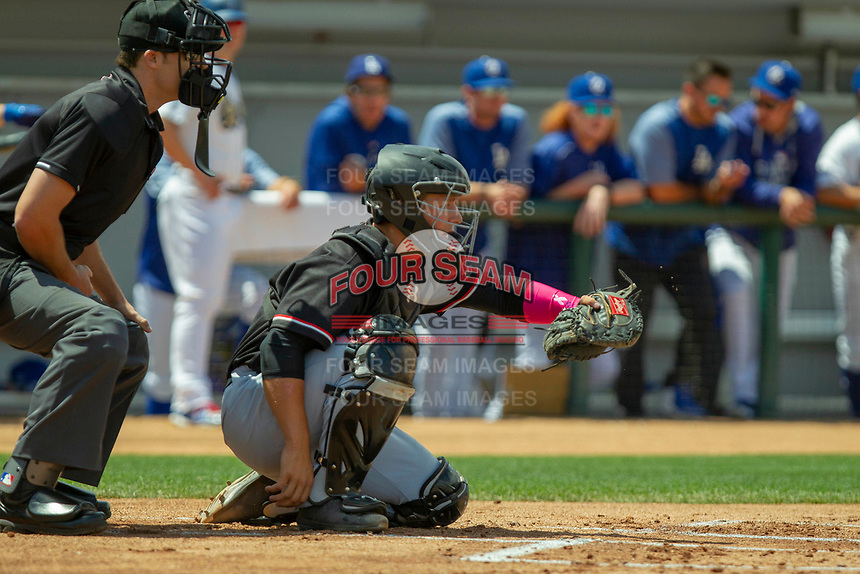 Visalia Rawhide Daulton Varsho (9) sets a target at LoanMart Field on May 13, 2018 in Rancho Cucamonga, California. The Quakes defeated the Rawhide 3-2.  (Donn Parris/Four Seam Images)