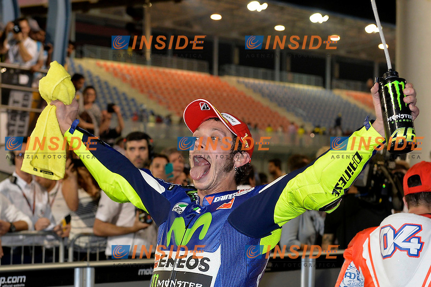 Lg Losail (Qatar) 29/03/2015 - gara Moto GP / foto Luca Gambuti/Image Sport/Insidefoto<br /> nella foto: Valentino Rossi Yamaha winner celebrates<br /> Esultanza