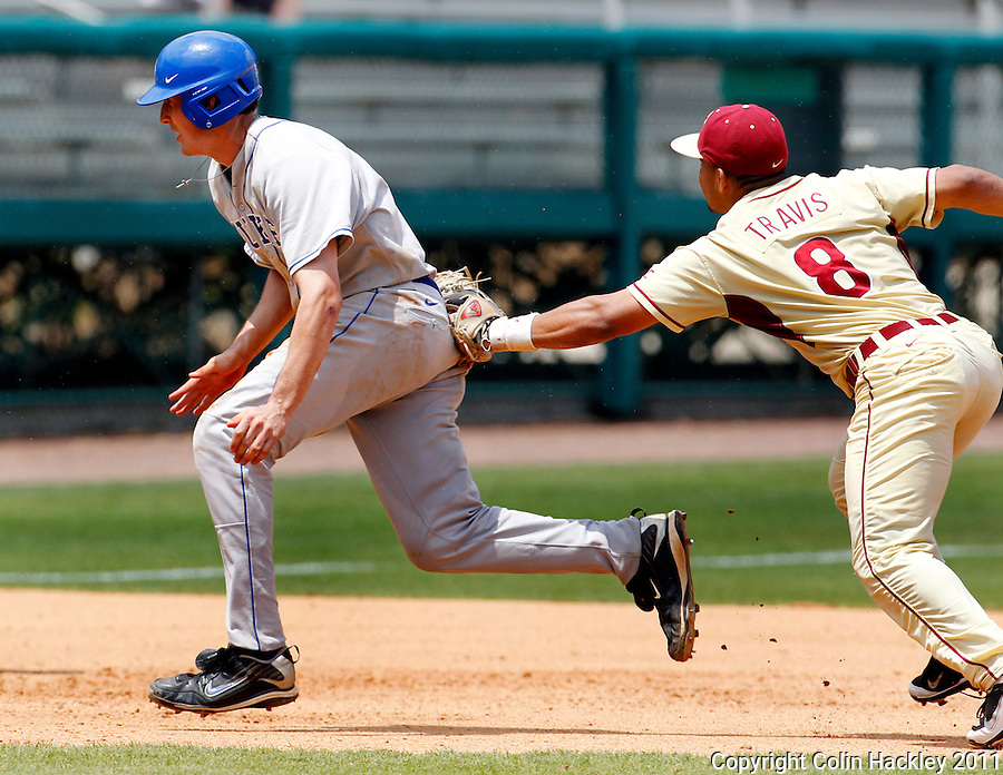 TALLAHASSEE, FL 4/24/11-FSU-DUKE BASE11 CH-Florida State's Devon Travis chases down Duke's Chris Marconcini during the fourth inning Sunday at Dick Howser Stadium in Tallahassee. The Seminoles beat the Blue Devils 13-9..COLIN HACKLEY PHOTO
