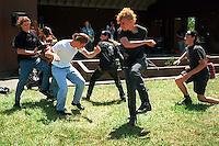 Kids moshing at Bands in a Blender concert.<br />